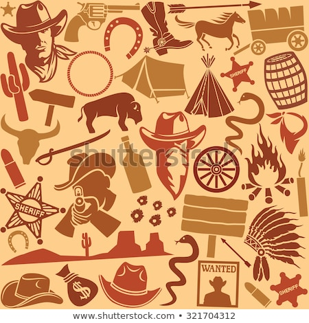 Wild west icon, western wanted cowboy poster Stock photo © netkov1