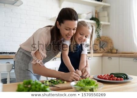 kicsi · háziasszony · kés · kép · nagy · lány - stock fotó © dolgachov