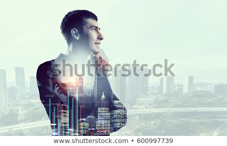 Double exposure of man thinking with hand on chin Stock photo © stevanovicigor