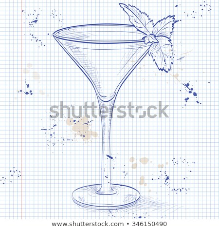 Grasshopper alcoholic cocktail on a notebook page Stock photo © netkov1