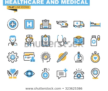 healthcare and medical colorful flat line icons set stock photo © anna_leni