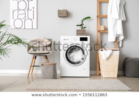 стиральная · машина · белый · воды · работу · фон · машина - Сток-фото © shutswis