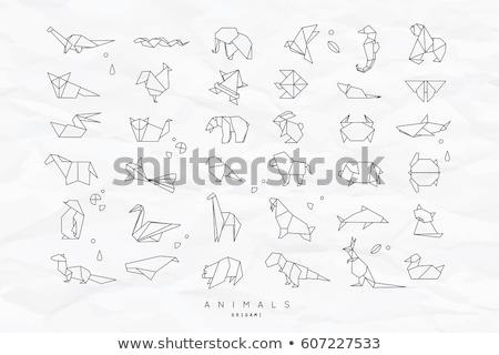 Fil origami örnek bir siluet beyaz Stok fotoğraf © cienpies