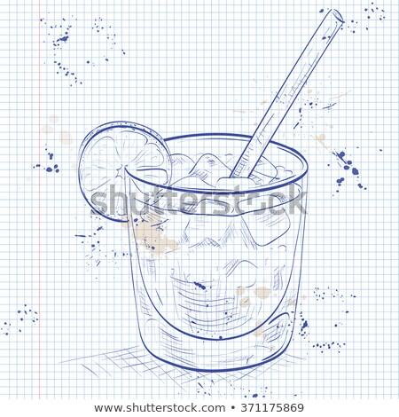 vidrio · bebida · grande · retro · agua · frutas - foto stock © netkov1