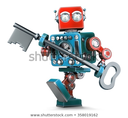 retro robot holding a big antique key in his hands isolated contains clipping path stock photo © kirill_m