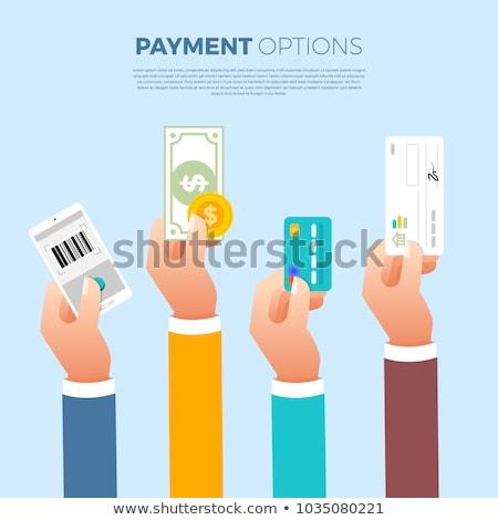 Fizetés illusztráció pénz kéz vásárlás hitelkártya Stock fotó © adrenalina