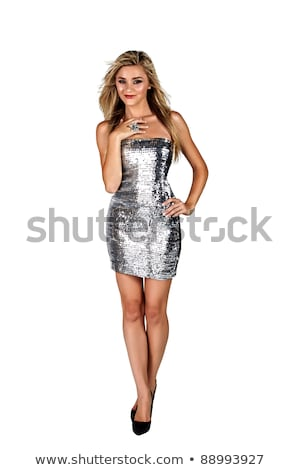young woman in silver dress isolated on white stock photo © elnur