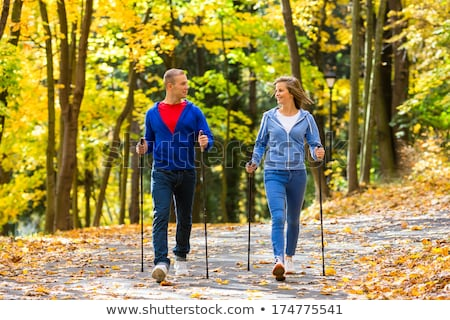 Two men nordic walking Stock photo © smuki