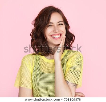 retrato · mulher · jovem · lábios · vermelhos · make-up · em · pé · brasão - foto stock © deandrobot