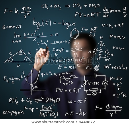 Man writing complex math formulas on whiteboard. Mathematics and science Stock photo © photocreo