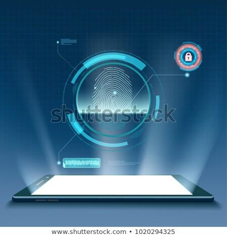 Szkenner scan ujjlenyomat közelkép nyomtatott emberi Stock fotó © m_pavlov