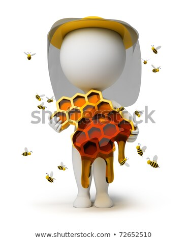 Stock photo: 3d small people - beekeeper