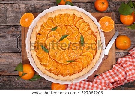 naranja · tarta · madera · fondo · torta - foto stock © m-studio