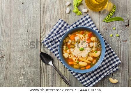 自家製 スープ チーズ バジル パスタ ストックフォト © janssenkruseproducti
