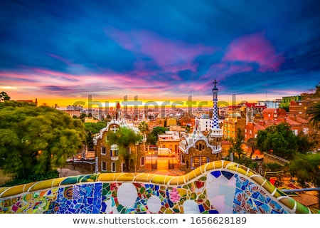 barcelona city view from park guell at sunrise beautiful blue sky stock photo © frimufilms