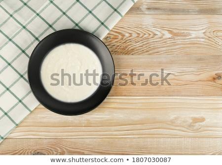 Pudding puchar mleka żywności tablicy śniadanie Zdjęcia stock © Digifoodstock