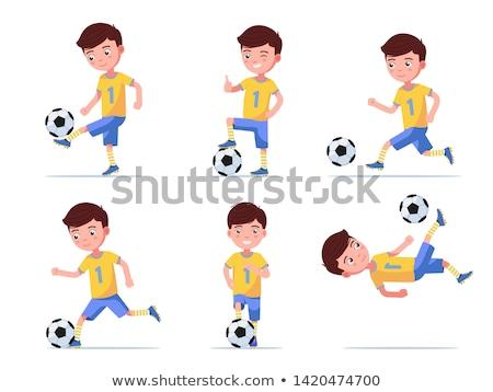 Futball gól fiúk játszik labda illusztráció Stock fotó © bluering