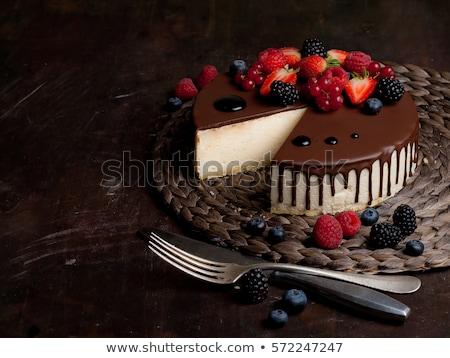 chocolate cake and berry fruit Stock photo © M-studio