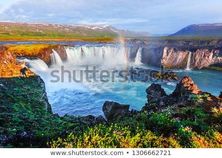 пейзаж водопада красивой парень красный куртка Сток-фото © Kotenko