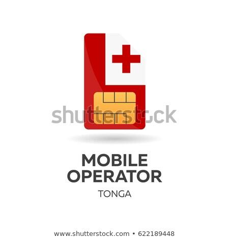 Tonga mobile operator. SIM card with flag. Vector illustration. Stock photo © Leo_Edition