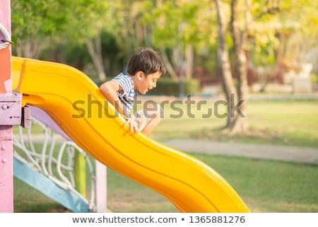 enfants · jouant · slide · école · aire · de · jeux · bois · été - photo stock © wavebreak_media