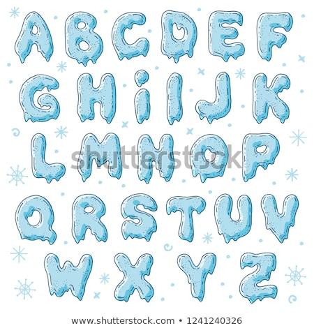 Letra i gelo fonte alfabeto icebergue Foto stock © MaryValery