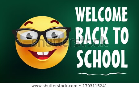 Back to school - characters of happy students with calligraphy lettering Stock photo © Decorwithme