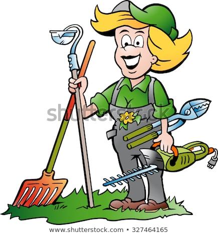 Cartoon mujer jardinero mascota jardinería Foto stock © Krisdog