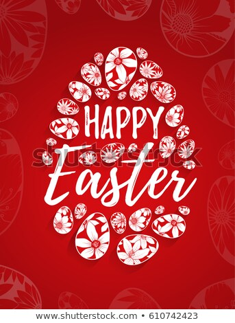 Happy Easter red lettering text for greeting card Stock photo © orensila