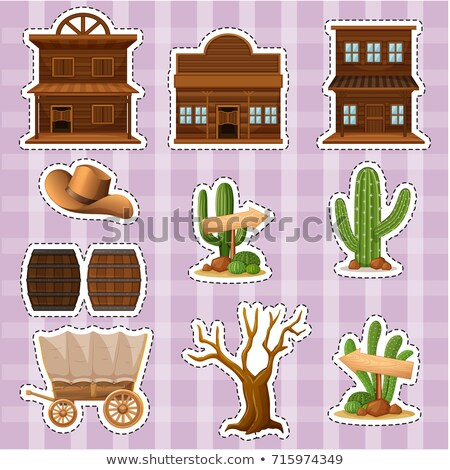 Sticker design with western style of buildings and cactus Stock photo © bluering