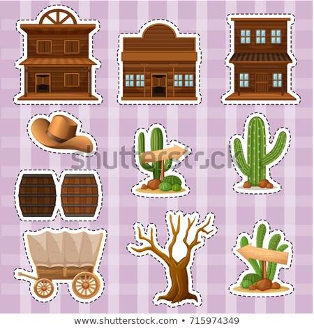 Kaktus · cowboy · twarz · pistolet · hat - zdjęcia stock © bluering