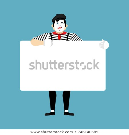 Mime holding banner blank. pantomime and white blank. mimic joyf Stock photo © popaukropa