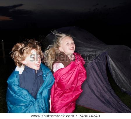 Сток-фото: девочек · спальный · мешки · сумерки · ребенка · ночь