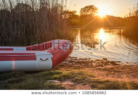 Inflatable boat in the calm river in sunny day Stock photo © IMaster