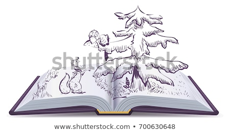 Fox and Crow story. Open book fable illustration Stock photo © orensila