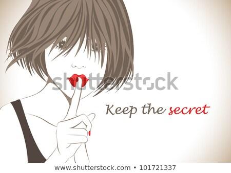 Bruna teen girl silenzio dito gesto bianco Foto d'archivio © lunamarina