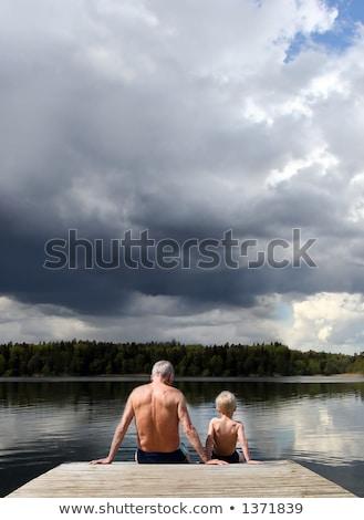 деда детей пешеходный мост природы моста реке Сток-фото © IS2
