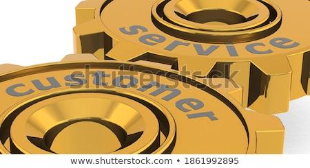Help And Support on Golden Gears. 3D Illustration. Stock photo © tashatuvango
