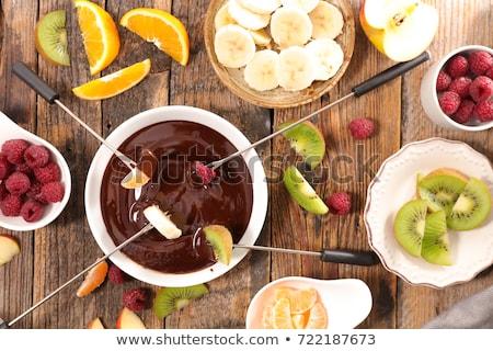 Stok fotoğraf: çikolata · meyve · ahşap · meyve · arka · plan · muz