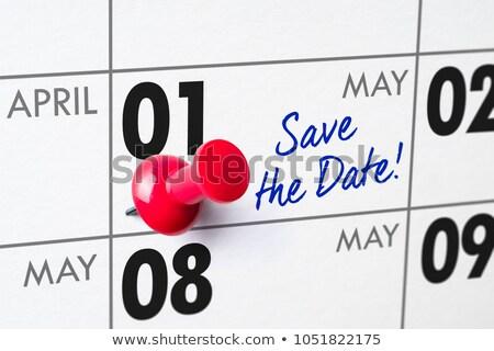 Foto stock: Pared · calendario · rojo · pin · negocios · tiempo