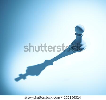 gyalog · törekvés · sakkfigura · árnyék · király · beton - stock fotó © psychoshadow