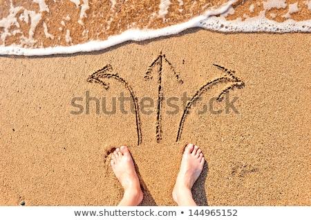 Foto stock: Homem · praia · areia · empresário · em · pé