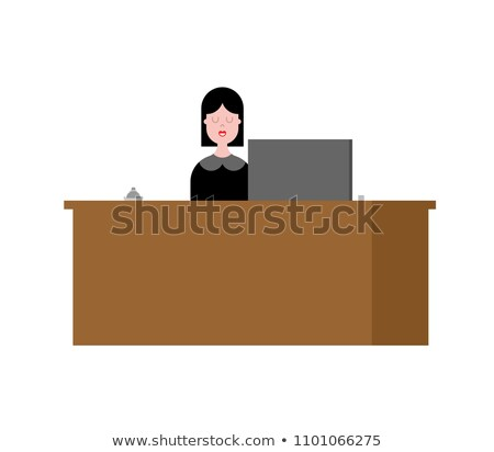 Reception girl and rack. Acceptance of guests. Vector illustrati Stock photo © popaukropa