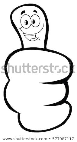 Siyah beyaz el jest karikatür yüz Stok fotoğraf © hittoon