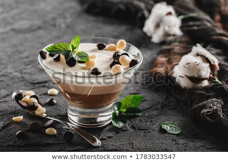 panna cotta with chocolate sauce stock photo © m-studio