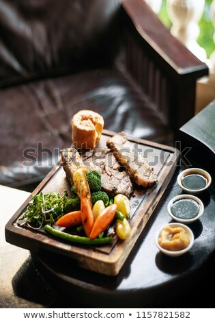 sunday roast beef traditional british meal set on table Stock photo © travelphotography