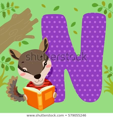 ábécé csempe olvas illusztráció olvas könyv Stock fotó © lenm