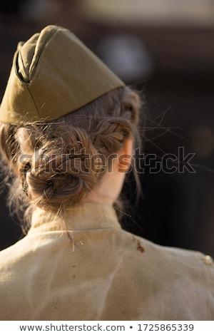 Vonzó nő katona profil vonzó fiatal nő bőrdzseki Stock fotó © MilanMarkovic78