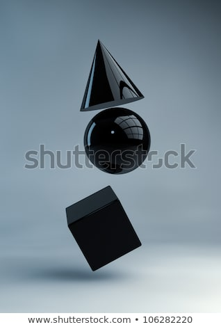 Bol cilinder 3D zwarte meetkundig Stockfoto © robuart