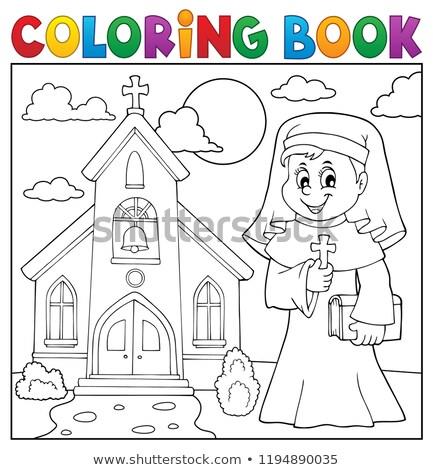 Livro para colorir feliz freira tópico mulher livro Foto stock © clairev